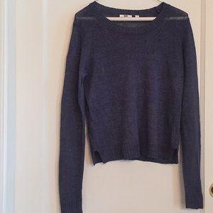 Blue Linen crew neck sweater Uniqlo M